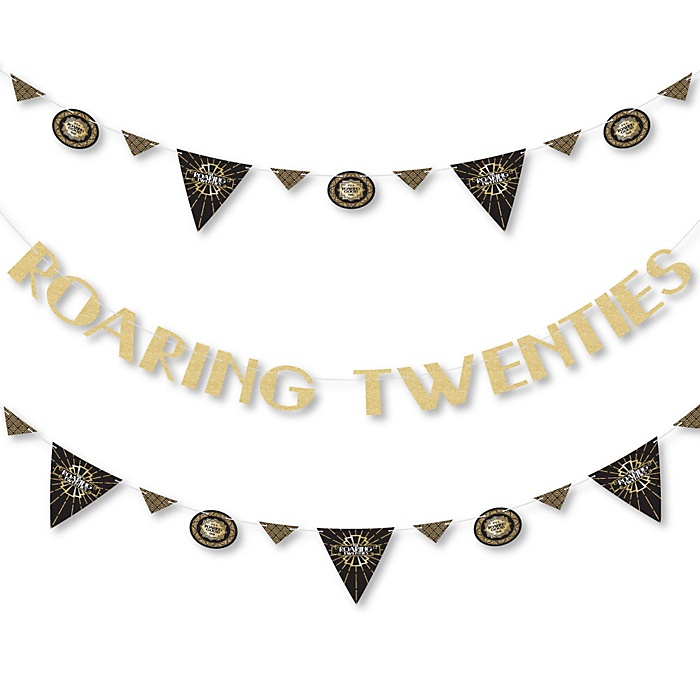 Roaring 20's - 1920s Art Deco Jazz Party Letter Banner Decoration - 36 Banner Cutouts and No-Mess Real Gold Glitter Roaring Twenties Banner Letters