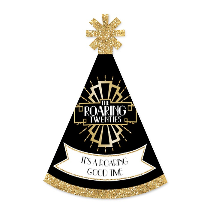 Roaring 20's - Personalized Mini Cone 1920s Art Deco Jazz Party Hats - Small Little Party Hats - Set of 10