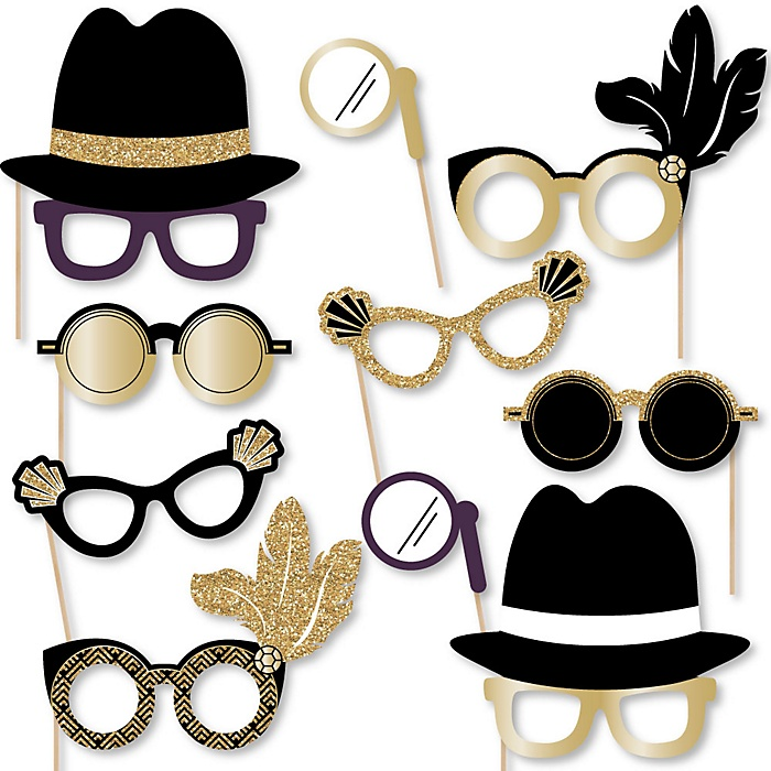 Roaring 20's Glasses - Paper Card Stock 1920s Art Deco Jazz Party Photo Booth Props Kit - 10 Count