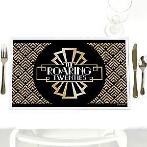 Roaring 20's - Party Table Decorations - 1920s Art Deco Party Placemats - Set of 12