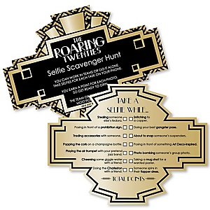 Roaring 20's - Selfie Scavenger Hunt - 1920s Art Deco Party Game - Set of 12