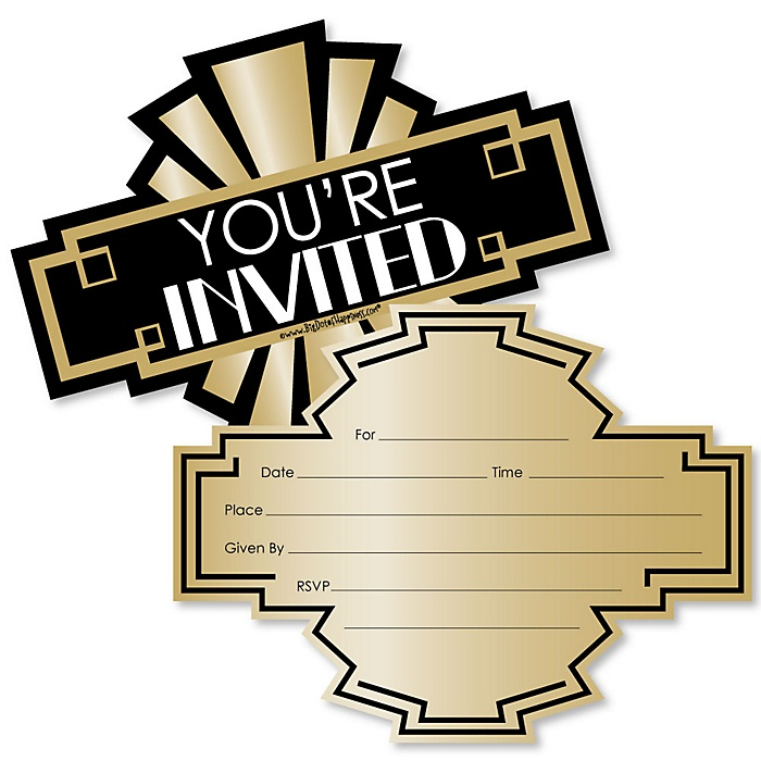 Roaring 20's - Shaped Fill-In Invitations - 1920's Art Deco Jazz Party Invitation Cards with Envelopes - 2020 Graduation Party - Set of 12