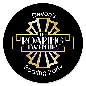 Roaring 20's - Round Personalized 1920s Art Deco Jazz Party Sticker Labels - 2020 Graduation Party - 24 ct