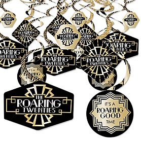 Roaring 20's - 1920s Art Deco Jazz Party Hanging Decor - Party Decoration Swirls - 2020 Graduation Party - Set of 40