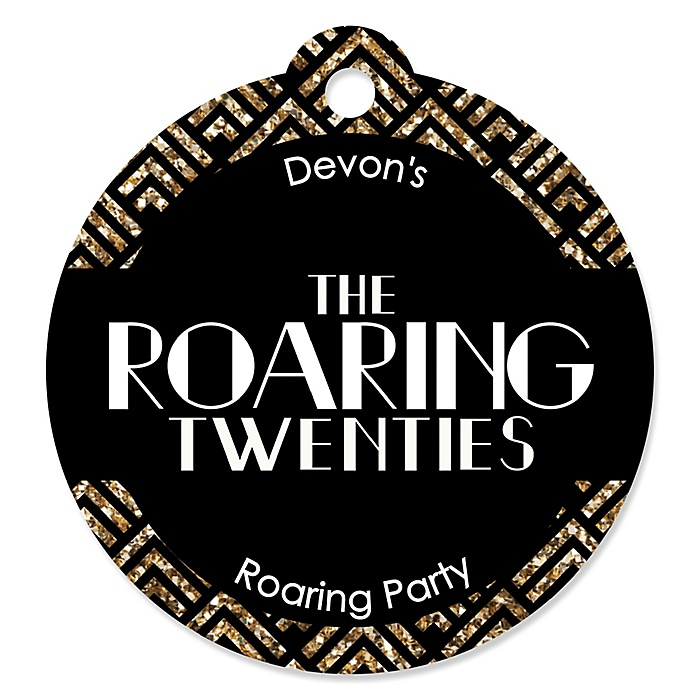 Roaring 20's - Personalized 1920s Art Deco Jazz Party Gift Tags - 2020 Graduation Party 20 ct
