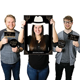 Roaring 20's - Personalized Twenties Selfie Photo Booth Picture Frame & Props - Printed on Sturdy Material - 2020 Graduation Party