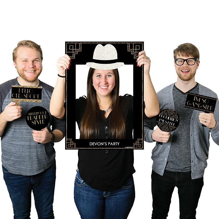 Roaring 20's - Personalized Twenties Selfie Photo Booth Picture Frame & Props - Printed on Sturdy Material