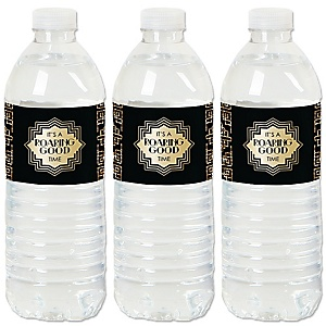 Roaring 20's - 1920s Art Deco Jazz Party Water Bottle Sticker Labels - Set of 20