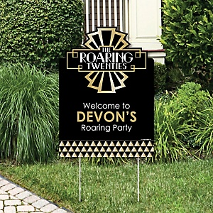 Roaring 20's - Party Decorations - 1920s Art Deco Jazz Party Personalized Welcome Yard Sign