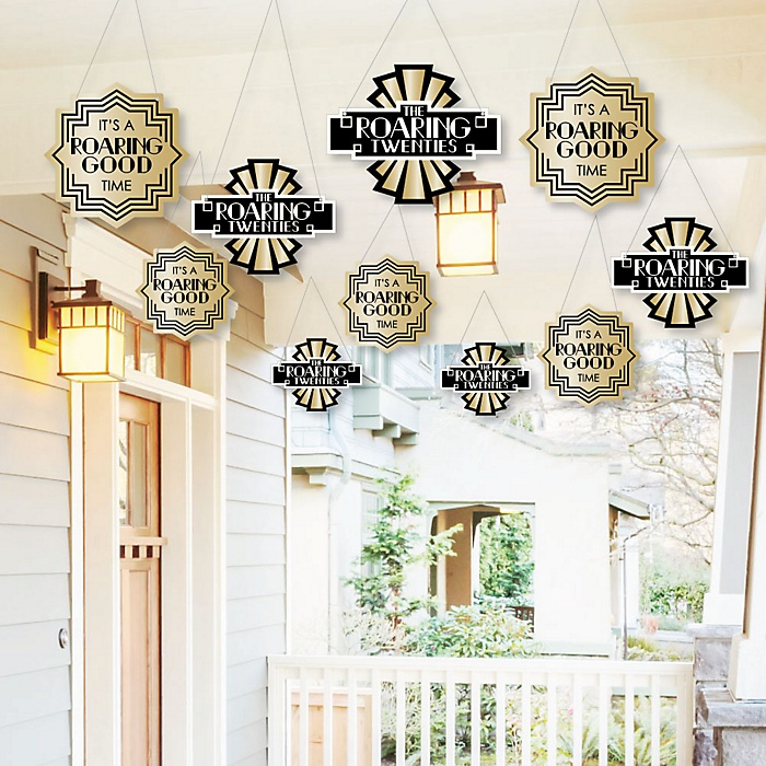Hanging Roaring 20's - Outdoor 1920s Art Deco Jazz Party Hanging Porch and Tree Yard Decorations - 10 Pieces