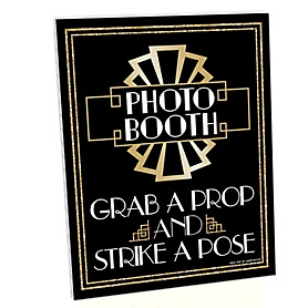 Roaring 20's Photo Booth Sign - 2020 Graduation Party - 1920s Art Deco Jazz Party Decorations - Printed on Sturdy Plastic Material - 10.5 x 13.75 inches - Sign with Stand - 2020 Graduation Party - 1 Piece