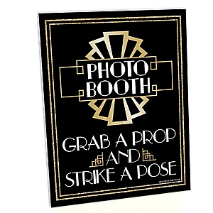 Roaring 20's Photo Booth Sign - 2020 New Year's Eve Party - 1920s Art Deco Jazz Party Decorations - Printed on Sturdy Plastic Material - 10.5 x 13.75 inches - Sign with Stand - 1 Piece