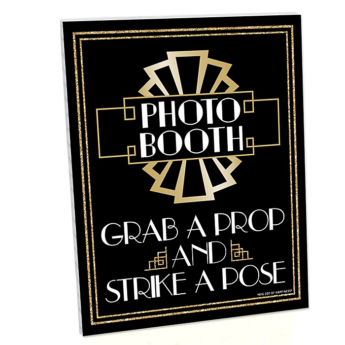 Roaring 20's Photo Booth Sign - 1920s Art Deco Jazz Party Decorations - Printed on Sturdy Plastic Material - 10.5 x 13.75 inches - Sign with Stand - 1 Piece