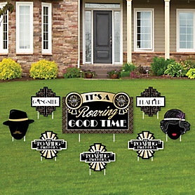 Roaring 20's - Yard Sign & Outdoor Lawn Decorations - 1920s Art Deco Jazz Party Yard Signs - 2020 Graduation Party - Set of 8