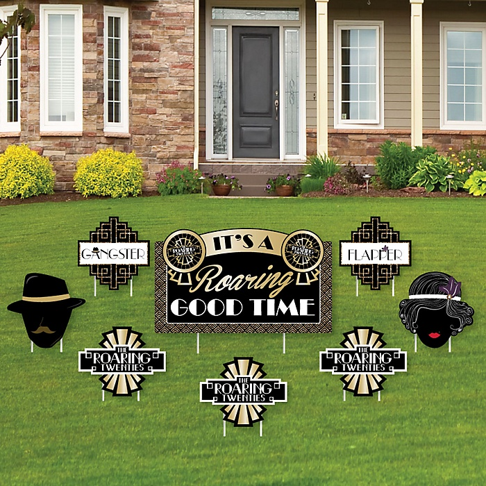 Roaring 20's - Yard Sign & Outdoor Lawn Decorations - 1920s Art Deco Jazz Party Yard Signs - Set of 8