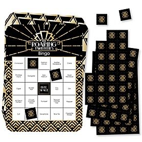 Roaring 20's - Bar Bingo Cards and Markers - 1920s Art Deco Jazz Party Bingo Game - 2020 Graduation Party - Set of 18