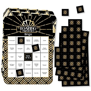 Roaring 20's - Bar Bingo Cards and Markers - 1920s Art Deco Jazz Party Bingo Game - Set of 18