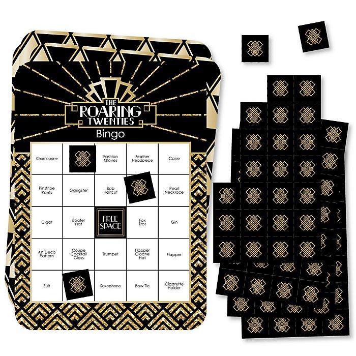 Roaring 20's - Bar Bingo Cards and Markers - 1920s Art Deco Jazz Party Bingo Game - 2020 Graduation Party - Set of 18