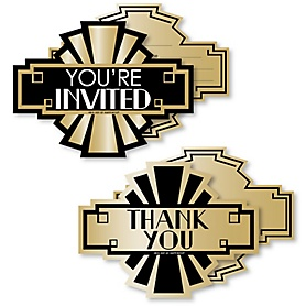 Roaring 20's - 20 Shaped Fill-In Invitations and 20 Shaped Thank You Cards Kit - 1920s Art Deco Jazz Party Stationery Kit - 2020 Graduation Party - 40 Pack