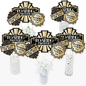 Roaring 20's - 1920s Art Deco Jazz Party Centerpiece Sticks - Table Toppers - 2020 Graduation Party - Set of 15
