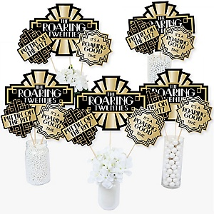 Roaring 20's - 1920s Art Deco Jazz Party Centerpiece Sticks - Table Toppers - Set of 15