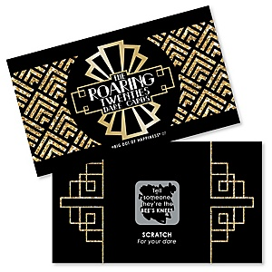 Roaring 20's - 1920s Art Deco Jazz Party Scratch Off Dare Cards - 22 Cards