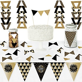 Roaring 20's - DIY Pennant Banner Decorations - 1920s Art Deco Jazz Party Triangle Kit - 2020 Graduation Party - 99 Pieces