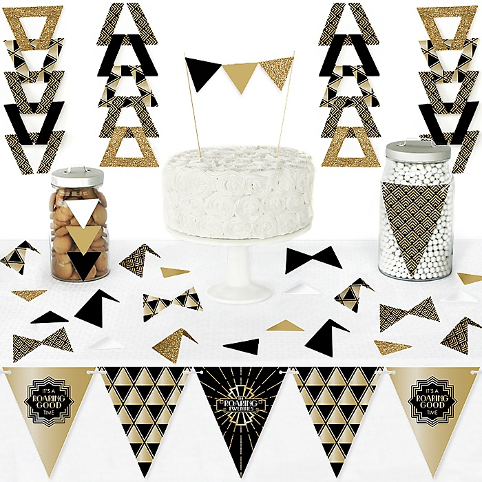 Roaring 20's - DIY Pennant Banner Decorations - 1920s Art Deco Jazz Party Triangle Kit - 99 Pieces