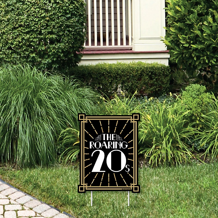 Roaring 20's - Outdoor Lawn Sign - 1920s Art Deco Jazz Party Yard Sign - 1 Piece