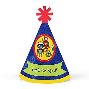 Robots - Personalized Mini Cone Baby Shower or Birthday Party Hats - Small Little Party Hats - Set of 10