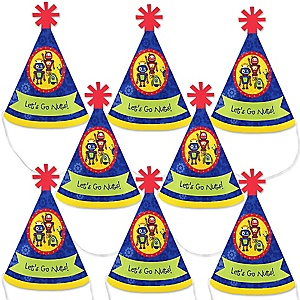 Robots - Mini Cone Baby Shower or Birthday Party Hats - Small Little Party Hats - Set of 8