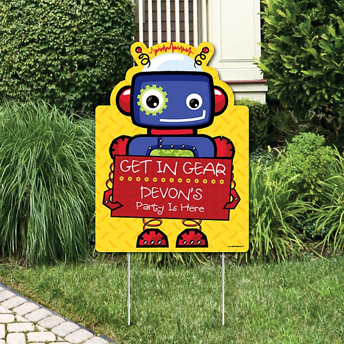 Robots - Party Decorations - Birthday Party or Baby Shower Personalized Welcome Yard Sign