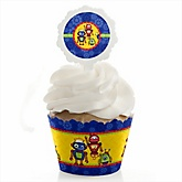Robots - Cupcake Wrapper & Pick Party Kit - Set of 24
