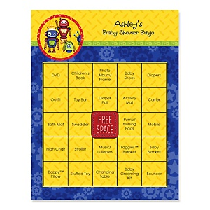 Robots - Bingo Personalized Baby Shower Games - 16 Count