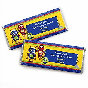 Robots - Personalized Candy Bar Wrapper Baby Shower or Birthday Party Favors - Set of 24