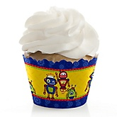 Robots - Baby Shower Cupcake Wrappers & Decorations