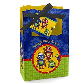 Robots - Personalized Baby Shower Favor Boxes - Set of 12