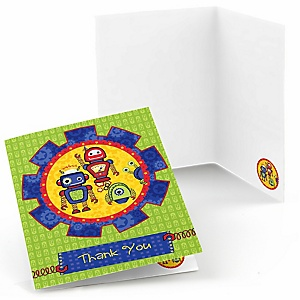 Robots - Baby Shower Thank You Cards - 8 ct
