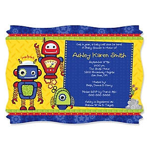 Robots - Personalized Baby Shower Invitations - Set of 12