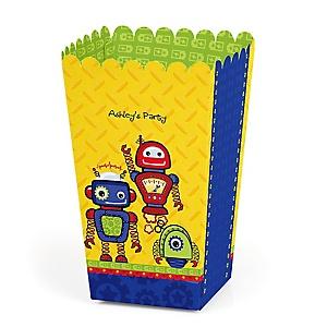 Robots - Personalized Party Popcorn Favor Treat Boxes