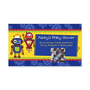 Robots - Personalized Baby Shower Game Scratch Off Cards - 22 ct
