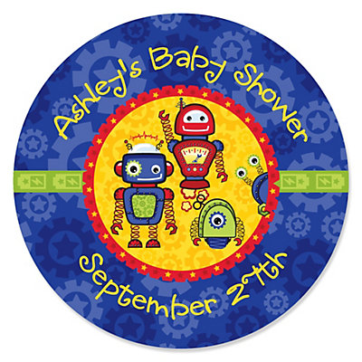 robots personalized baby shower sticker labels 24 ct