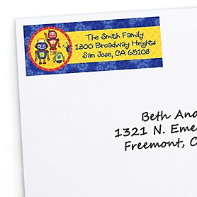 Robots - Personalized Birthday Party Return Address Labels - 30 ct