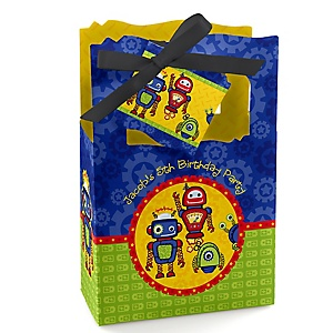 Robots - Personalized Birthday Party Favor Boxes - Set of 12