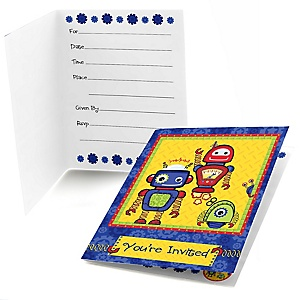 Robots - Birthday Party Fill In Invitations - 8 ct