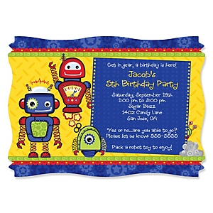 Robots - Personalized Birthday Party Invitations - Set of 12