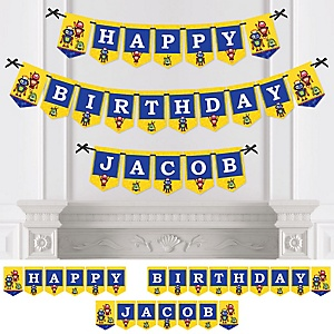 Robots - Personalized Birthday Party Bunting Banner & Decorations