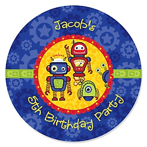 Robots - Personalized Birthday Party Sticker Labels - 24 ct