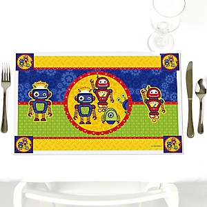 Robots - Party Table Decorations - Baby Shower or Birthday Party Placemats - Set of 12