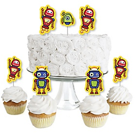 Robots - Dessert Cupcake Toppers - Baby Shower or Birthday Party Clear Treat Picks - Set of 24